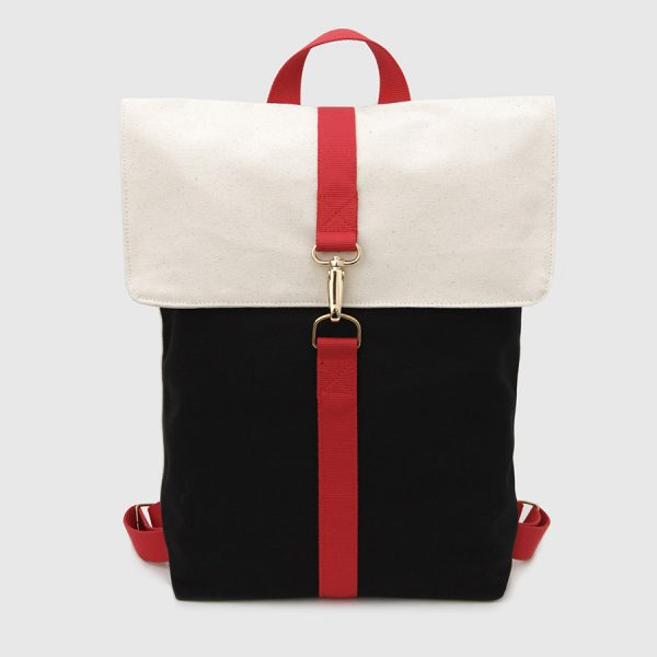 © Botó de Cotó black & ecru backpack with flap & red handles
