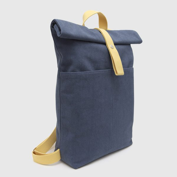 Blue & yellow canvas roll-top backpack