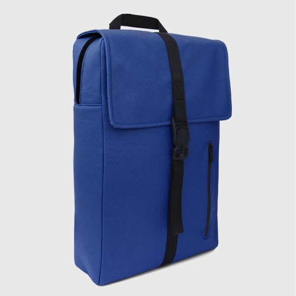 Waxed, padded and reinforced electric blue canvas backpack.