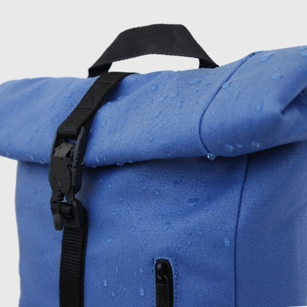 waterproof blue waxed canvas roll-top backpack