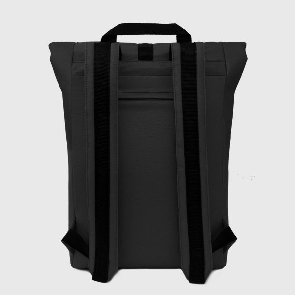 waterproof black canvas roll-top backpack