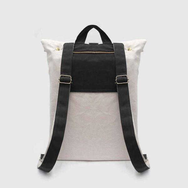 mochila en color negro, por detrás
