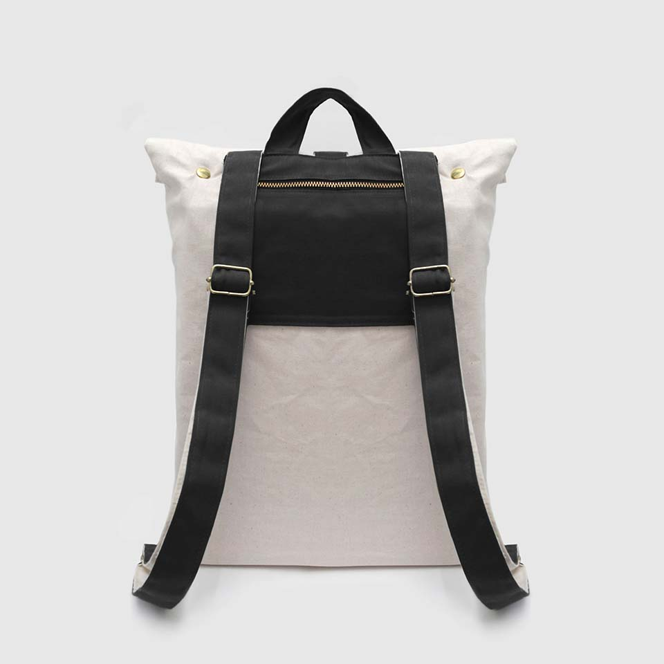 Ecru & black canvas roll-top backpack