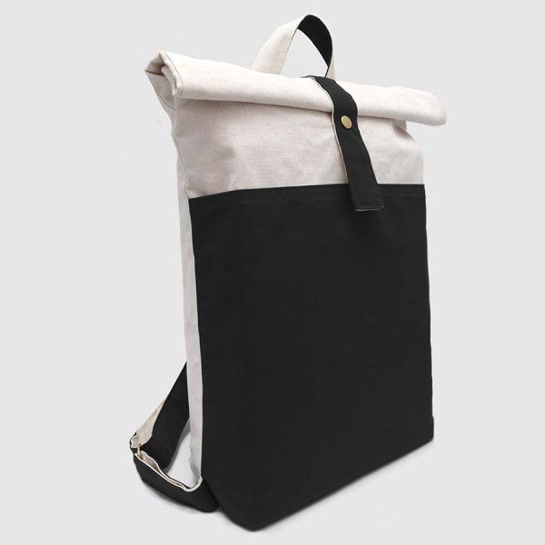 mochila begana negra y blanca roll-top