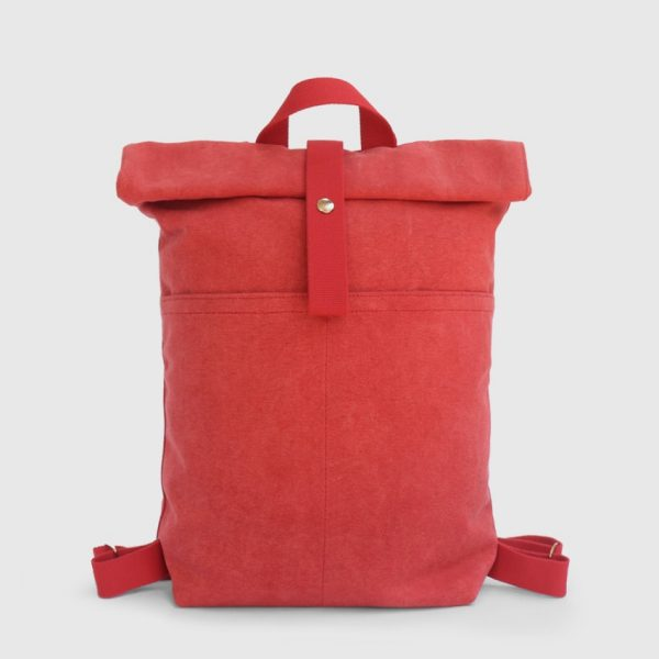 Red canvas waterproof backpack