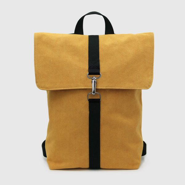 Backpack with mustard canvas flap