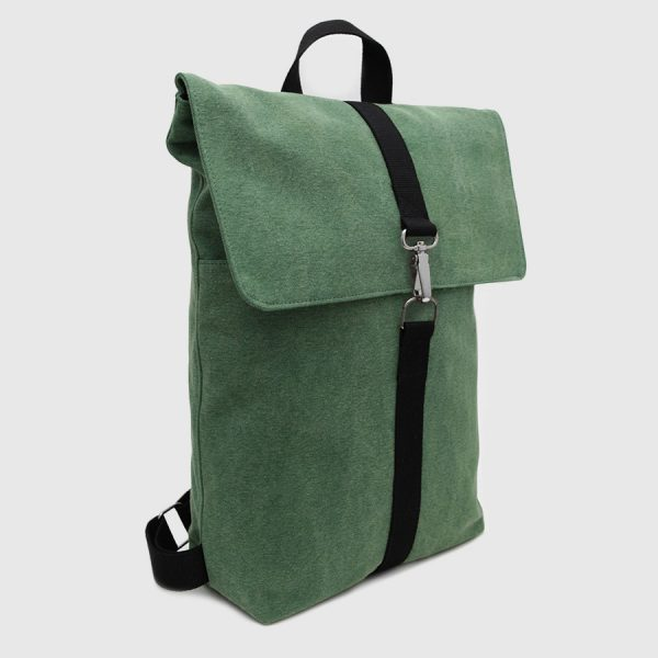 backpack with green canvas flap