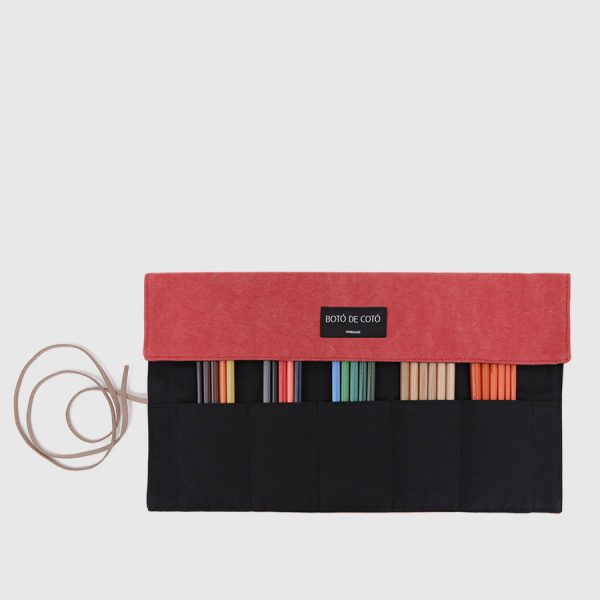 red roll-up pencilcase