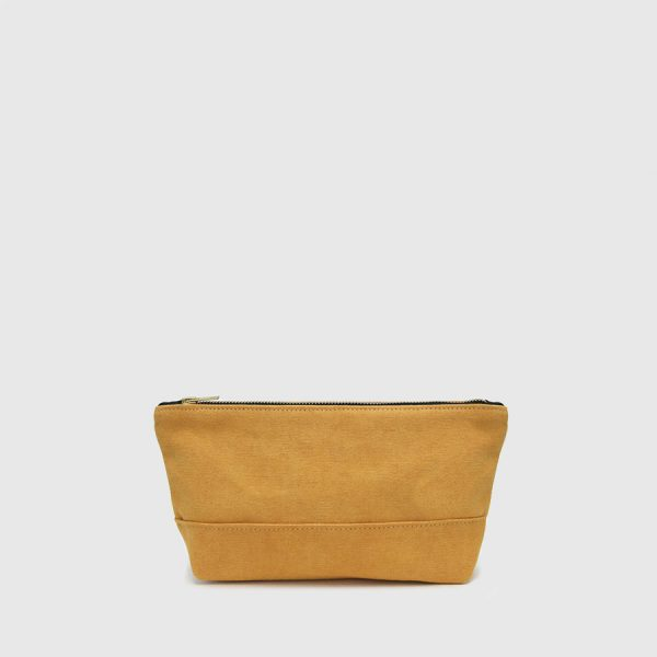 mustard golden brown toilet bag