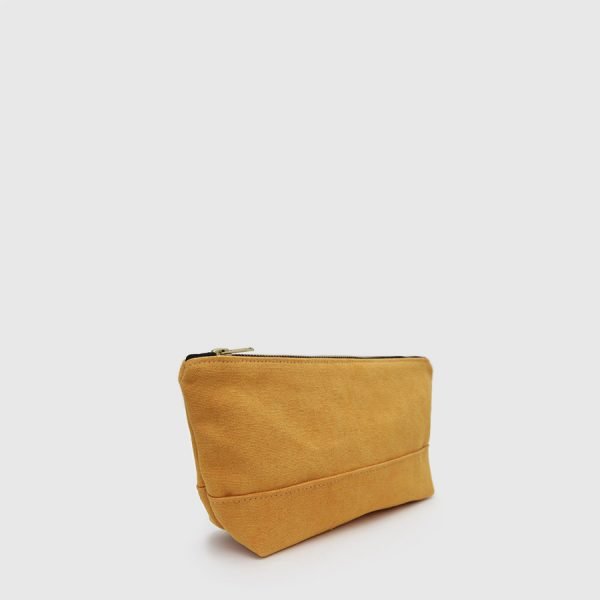 mustard toilet bag with closure