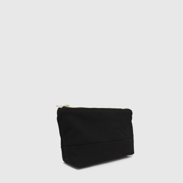 black zippered toiletry bag