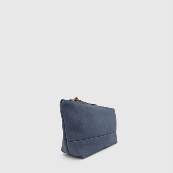 blue canvas case with zipper
