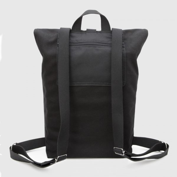 Black canvas and leather roll-top backpack