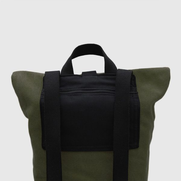 Khaki green canvas and leather roll-top backpack