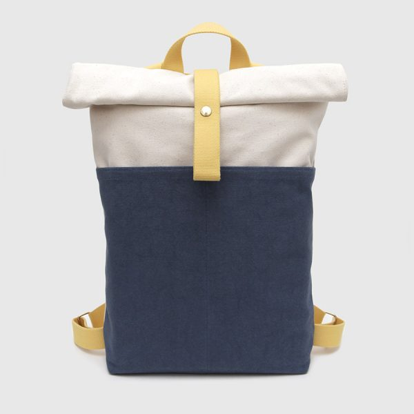 blue white and yellow roll-top backpack