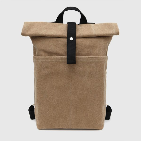 brown backpack roll-top