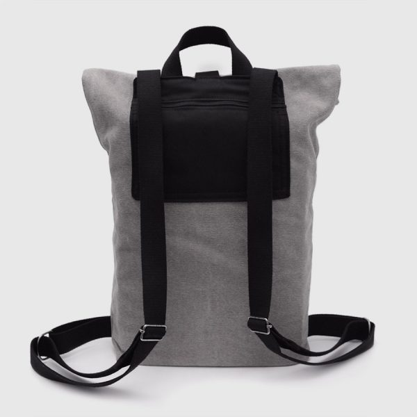 Grey canvas and leather roll-top backpack