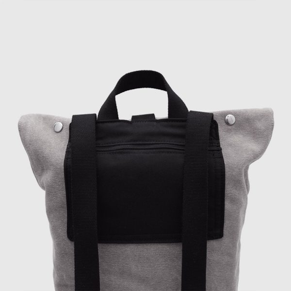 roll-top grey backpack
