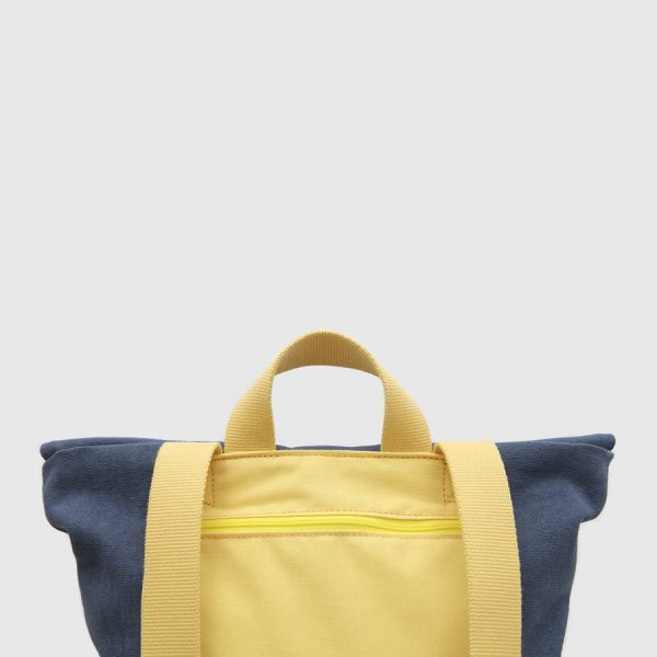 Blue and yellow canvas flap backpack