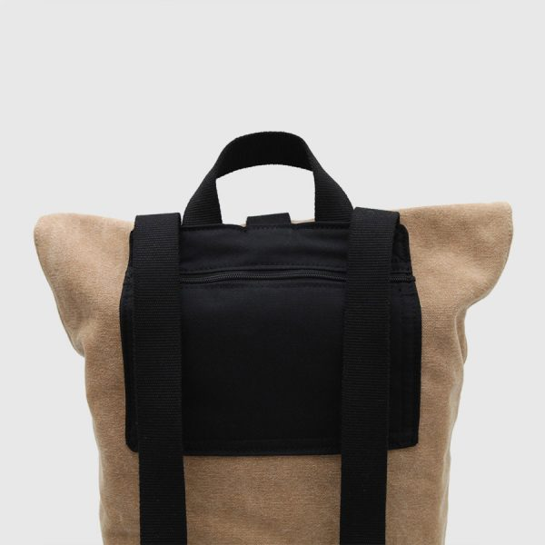 Brown canvas and leather roll-top backpack