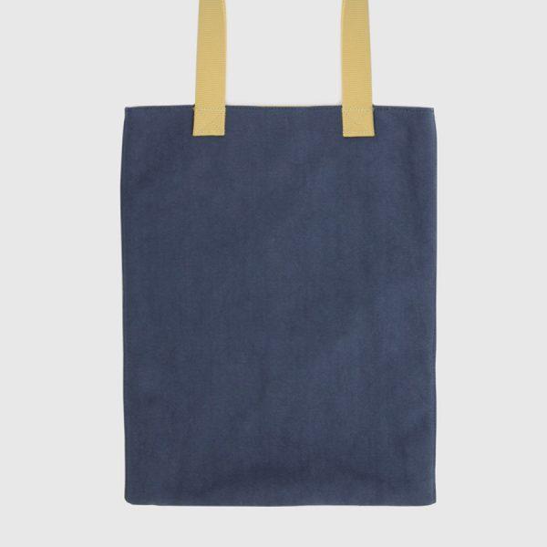 Bolso tote azul y amarillo de lona con forro